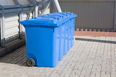 Blue plastic recycling bins Royalty Free Stock Photos