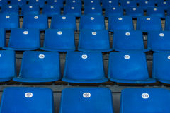 Blue plastic seats. Royalty Free Stock Images