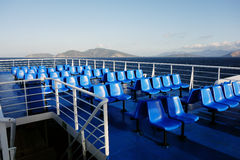 Blue Plastic Seats on Greek Ferry Stock Photography