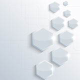Blue plastic shiny, glossy  hexagon on blue Stock Photo