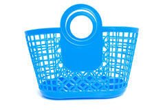 Blue plastic shopping bag Stock Photo