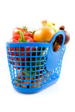 Blue plastic shopping bag with grocery Royalty Free Stock Photo