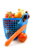 Blue plastic shopping bag with grocery Stock Photography