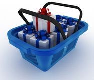 Blue plastic shopping basket with boxes. Of gifts. 3d render illustration on white background Stock Images