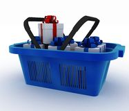 Blue plastic shopping basket with boxes of gifts. 3d render illustration on white background Stock Photo