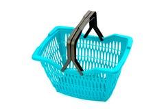 Blue plastic shopping basket isolated on white. Stock Photos