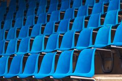Blue plastic stadium seats Stock Image
