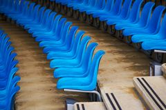 Blue plastic stadium seats Royalty Free Stock Photo