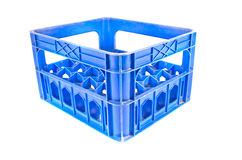 Blue plastic storage box crate on a white Stock Photos