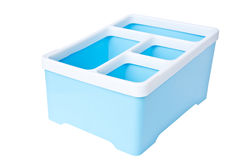 Blue plastic storage box isolated on white background Royalty Free Stock Image