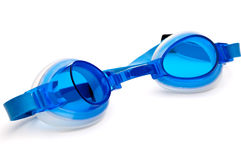 Blue plastic swimming goggles Royalty Free Stock Photos