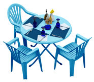 Blue plastic table with chairs isolated on white Royalty Free Stock Image