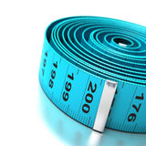 Blue plastic tape measure Royalty Free Stock Photo