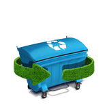 Blue plastic trash recycling container ecology concept, isolation on white Royalty Free Stock Images