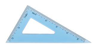 Ruler Triangle Blue. Blue Plastic Triangle Isolated on White Background royalty free stock photo