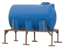 Blue plastic water storage tank on white background. Blue plastic water and liquids barrel storage industrial container isolated on white background Royalty Free Stock Photos