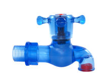 Blue plastic water tap Royalty Free Stock Image