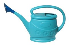 Blue plastic Watering can for gardening stock photo