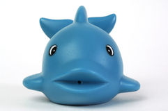 Blue plastic whale. Blue plastic toy whale on white background Stock Photography