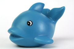 Blue plastic whale. Blue plastic toy whale on white background Royalty Free Stock Photo