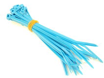Blue plastic wire ties Royalty Free Stock Photography