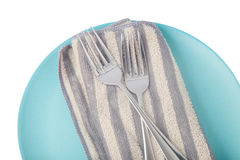 Blue plate with cutlery Stock Photo