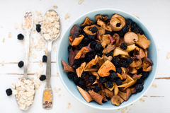 Blue plate with dried apples and berries and a spoon of oatmeal Stock Photo