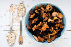 Blue plate with dried apples and berries and a spoon of oatmeal Stock Photos