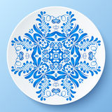 Blue  plate with floral ornament Royalty Free Stock Photo
