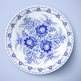 Blue plate with floral ornament in gzhel style Stock Photography