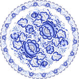 Blue plate with floral ornament in gzhel style Royalty Free Stock Images