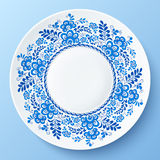 Blue plate with floral ornament in gzhel style Royalty Free Stock Photography
