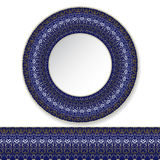 Blue plate with gold pattern Stock Photo