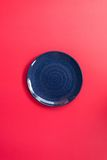 Blue plate Japanese style pink background. Stock Photography