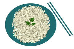 Blue plate of noodles and sticks. Isolated on white background royalty free illustration