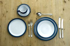 Blue Plate Setting Royalty Free Stock Photo