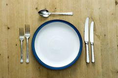 Blue Plate Setting Royalty Free Stock Photography