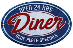 Blue Plate Special. Vintage Diner Sign Blue Plate Specials Open 24 Hours Retro 1940`s 1950`s 1930`s Roadside Route 66 royalty free stock photography