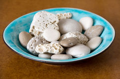 Blue Plate and Stones Royalty Free Stock Photo