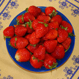 Blue plate with strawberry. Standing on table on yellow tablecloth Stock Photography