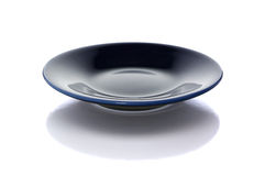 Blue plate on white with clipping path Stock Image