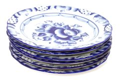 Blue plates royalty free stock photo