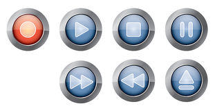 Blue playback buttons. Illustration of glossy blue playback controls, with red recording button Stock Photo