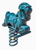Blue Playground spring rocking horse Royalty Free Stock Image
