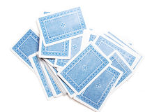 Blue playing cards pile Stock Photo