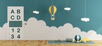 Blue playroom for baby boys. With toys on carpet, hot air balloon and closed door - 3d rendering Stock Image