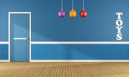 Blue playroom with closed door Stock Photos