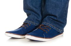 Blue plimsolls Royalty Free Stock Images
