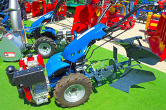 Blue plow. The newest plow exposed to the Agricultural Fair,photography Stock Photos