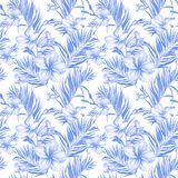 Blue plumeria flowers and exotic palm leaves in seamless tropical pattern. White background. Watercolor painting. royalty free illustration